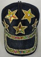 Denim Hat with Bling [5 Stars] Gold